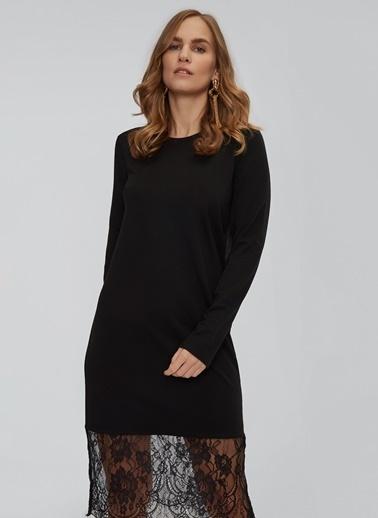 People By Fabrika Dantel Detaylı Sweat Elbise Siyah